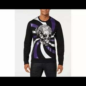 INC sequin skull sweatshirt Black  halloween